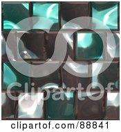 Royalty Free RF Clipart Illustration Of A Background Of Shiny Turquoise And Gray Tiles by Arena Creative