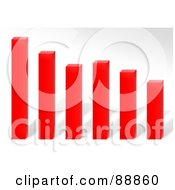 Royalty Free RF Clipart Illustration Of A 3d Red Declining Bar Graph Over Gray by Arena Creative