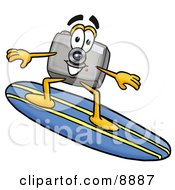Clipart Picture Of A Camera Mascot Cartoon Character Surfing On A Blue And Yellow Surfboard by Toons4Biz