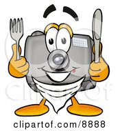Camera Mascot Cartoon Character Holding A Knife And Fork