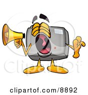 Clipart Picture Of A Camera Mascot Cartoon Character Screaming Into A Megaphone