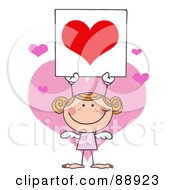 Royalty Free RF Clipart Illustration Of A Stick Girl Cupid Holding A Red Heart Sign
