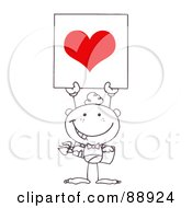 Royalty Free RF Clipart Illustration Of An Outlined Stick Cupid Holding A Red Heart Sign