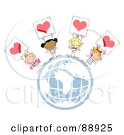 Royalty Free RF Clipart Illustration Of Stick Cupids Holding Heart Signs On A Globe