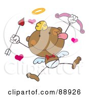 Royalty Free RF Clipart Illustration Of A Black Stick Cupid Holding Up A Bow And Arrow