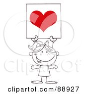 Royalty Free RF Clipart Illustration Of An Outlined Female Stick Cupid Holding A Red Heart Sign