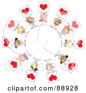 Royalty Free RF Clipart Illustration Of Stick Cupids Holding Red Heart Signs In A Circle