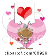 Royalty Free RF Clipart Illustration Of A Hispanic Male Stick Cupid Holding A Red Heart Sign