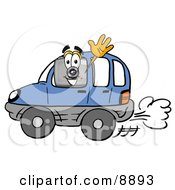 Clipart Picture Of A Camera Mascot Cartoon Character Driving A Blue Car And Waving