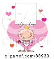 Royalty Free RF Clipart Illustration Of A White Male Stick Cupid Holding A Blank Sign