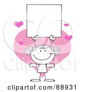 Royalty Free RF Clipart Illustration Of An Outlined Female Stick Cupid Holding A Blank Sign