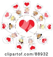 Royalty Free RF Clipart Illustration Of Stick Cupids Holding Heart Signs Around A Heart