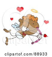 Royalty Free RF Clipart Illustration Of A Black Stick Cupid Aiming A Bow And Arrow