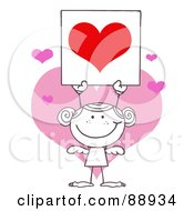 Royalty Free RF Clipart Illustration Of An Outlined Girl Stick Cupid Holding A Red Heart Sign