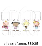 Royalty Free RF Clipart Illustration Of A Group Of Stick Cupids Holding Blank Signs