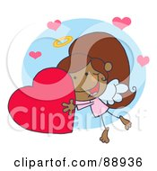 Royalty Free RF Clipart Illustration Of A Sweet Black Female Stick Cupid Holding A Heart