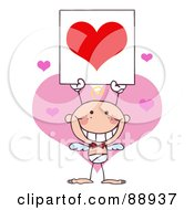 Royalty Free RF Clipart Illustration Of A Stick Baby Boy Cupid Holding A Red Heart Sign