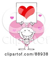 Royalty Free RF Clipart Illustration Of An Outlined Baby Boy Stick Cupid Holding A Red Heart Sign