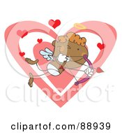 Royalty Free RF Clipart Illustration Of A Black Stick Cupid Over Hearts With A Bow And Arrow