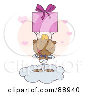 Royalty Free RF Clipart Illustration Of A Black Stick Cupid Holding Up A Gift On A Cloud