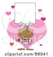 Royalty Free RF Clipart Illustration Of A Black Male Stick Cupid Holding A Blank Sign