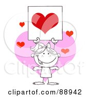 Royalty Free RF Clipart Illustration Of An Outlined Female Stick Cupid Holding Up A Red Heart Sign