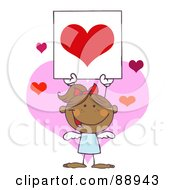 Royalty Free RF Clipart Illustration Of A Stick Hispanic Girl Cupid Holding A Red Heart Sign