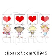 Royalty Free RF Clipart Illustration Of Stick Cupids Holding Red Heart Signs