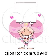 Royalty Free RF Clipart Illustration Of A Baby White Male Stick Cupid Holding A Blank Sign