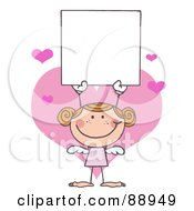 Red Haired Female Stick Cupid Holding A Blank Sign by Hit Toon