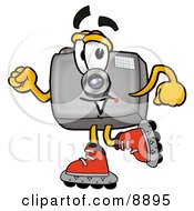Clipart Picture Of A Camera Mascot Cartoon Character Roller Blading On Inline Skates by Toons4Biz