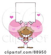 Royalty Free RF Clipart Illustration Of A Black Baby Male Stick Cupid Holding A Blank Sign