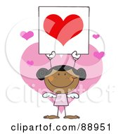 Royalty Free RF Clipart Illustration Of A Stick Black Girl Cupid Holding A Red Heart Sign