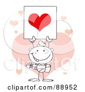 Royalty Free RF Clipart Illustration Of An Outlined Stick Cupid Holding A Red Heart Sign In Front Of Pink Hearts