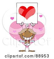 Royalty Free RF Clipart Illustration Of A Stick Black Boy Cupid Holding A Red Heart Sign
