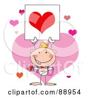 Royalty Free RF Clipart Illustration Of A White Boy Stick Cupid Holding A Red Heart Sign