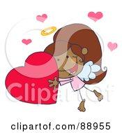 Black Female Stick Cupid Holding A Heart