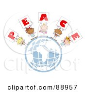 Royalty Free RF Clipart Illustration Of Stick Cupids Holding Peace Signs On A Globe