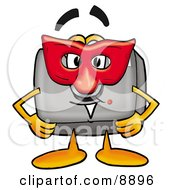 Clipart Picture Of A Camera Mascot Cartoon Character Wearing A Red Mask Over His Face by Toons4Biz
