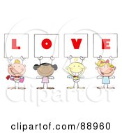 Stick Cupids Holding LOVE Signs