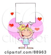 Royalty Free RF Clipart Illustration Of A Blond Female Stick Cupid Holding A Blank Sign by Hit Toon