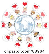 Royalty Free RF Clipart Illustration Of Stick Cupids Holding Up Heart Signs Around A Globe