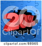 Royalty Free RF Clipart Illustration Of A 20 Percent Off Discount Breaking Through A Blue Puzzle Wall