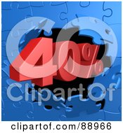 Royalty Free RF Clipart Illustration Of A 40 Percent Off Discount Breaking Through A Blue Puzzle Wall