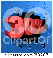 Royalty Free RF Clipart Illustration Of A 30 Percent Off Discount Breaking Through A Blue Puzzle Wall