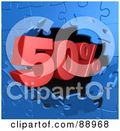 Royalty Free RF Clipart Illustration Of A 50 Percent Off Discount Breaking Through A Blue Puzzle Wall