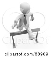 3d White Person Leaping Over A Hurdle