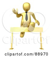 Royalty Free RF Clipart Illustration Of A 3d Gold Person Leaping Over A Hurdle by 3poD