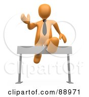 Royalty Free RF Clipart Illustration Of A 3d Orange Person Leaping Over A Hurdle by 3poD