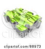 Royalty Free RF Clipart Illustration Of Four 3d Green Puzzle Pieces Linked Together by 3poD
